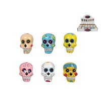 6pce 4cm Sugar / Candy Skulls Resin Bright Colours