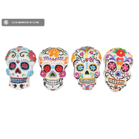 4pce 14CM Sugar Skulls Wall Art Complete Set of 4 in Bright Colours