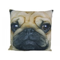 40cmx 40cm Soft Pollyester Pug Dog Cushion (Design on One Side Only) Decorative