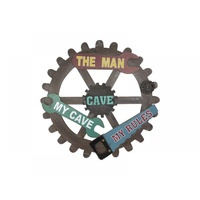 1 x 40cm Wooden Cog With Tools MDF Man Cave Plaque, Great for any Home