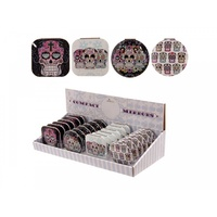 1pce Candy Skull Compact Mirror for Purse, Bag, Fold Up, Day of the Dead