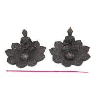 1pce 8cm Thai Style Buddha on a Lotus Flower Incense Holder Grey Colour Resin
