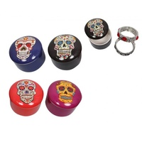 1pce 8cm Candy Skull Round Jewellery Box, Bright & Vibrant Colours in a Matt Finish