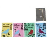 1pce 18CM Inspirational Bird Silhouette Garden Plaque in Pastel Colours - Blue - Home