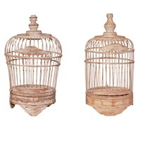 25cm Wooden Decorative Bird Cage, White Wash, Shabby Chic, Handmade
