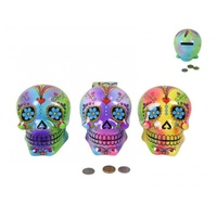 1pce 11.5cm Psychedelic Candy Skull Money Box, with Bright & Vibrant Colours - Yellow & Green