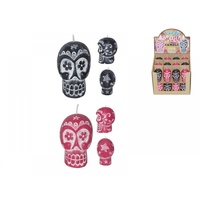 6cm Candy Skull Candle in Two Colours to Choose From Votive Style Candle