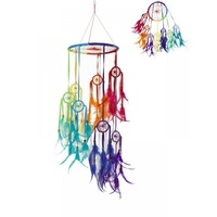 1pce Rainbow Dream Catcher Mobile with 7 Tiered Hoops 22cmD 70cm Long