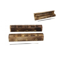 1 x 30cm Wooden Coffin Style Box Incense Holder, Comes in Two Designs, Great for Home