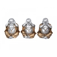 1pce 11CM Silver Happy Buddha Figurine with Gold Robe Clothing and Chain, Three Poses