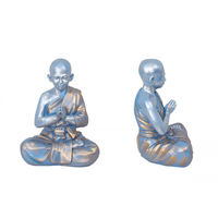 25CM Tranquil Blue Meditating Monk with Gold Designed Robe