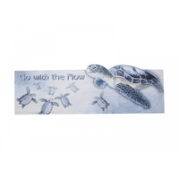 "1pce 60x20CM Blue and White Turtle Wall Plaque Saying ""Go with the Flow"""