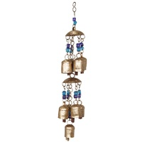 Miniature Rustic Brass Bell Wind Chime Mobile with Coloured Beads in Two Designs, Home Décor  Purple Beads