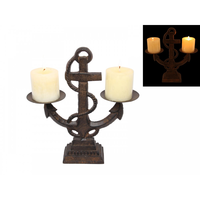 1pce 30CM Cast Iron Anchor with Twin Candle Holder Feature Solid Piece Indoor or Out
