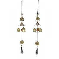 1pce Twin Buddha Charm with 3 Brass Bell Windchime W/ Beads and Lucky Coin Motif