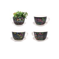 13cm Ceramic Tea Cup Planter with Inspirational Verse Great for Herbs and Flowers