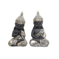 1pce 28CM Cute Buddha / Monk in Traditonal Dress Dark Skin and Gold / Silver Clothing