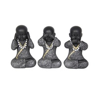 1pce 14CM Wise Buddha Choose from Hear / Speak / See No Evil Stone Look Finish Silver / Gold