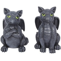 15cm Black Dragon Statue, Cute, Green Eyes, Gothic