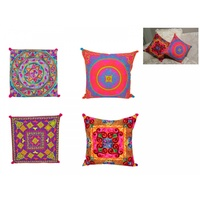 40cm Embroidered Cushion, Bright Colours with Pom Poms, Cover incl. Insert