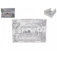 A4 Adult Colouring In Paper Scenery Designs, 12 Sheets, Relax and Stress Reducing