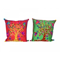 40cm Embroidered Cushion with Tree Of Life, Bright Colours, Cover incl. Insert