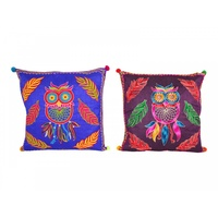 40cm Embroidered Cushion with Owl, Bright Colours, Cover incl. Insert