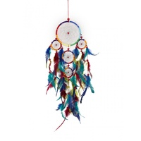 50cm Rainbow Chakra Style Dream Catcher with Feathers width 12cm