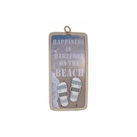 "59cm x 29cm MDF ""Happiness is Bare Foot on the Beach"" Plaque with Rope and Thongs, Beach Theme"