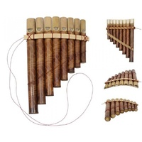 1x 19cm Natural Bamboo Panpipes, with 8 Pipes, Instrument