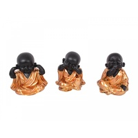 16cm Bronze Robed Cute Happy Fat Monks Sitting, Rare Colours