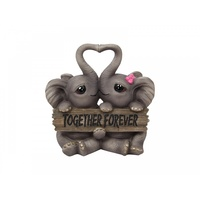 16cm Together Forever Pair of Cute Elephants, Made of Resin, Home Deco