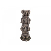 1x 27cm Tower of Three Cute Resin Elephants, Home Deco