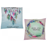 "40cm ""Never Stop Dreaming"" Inspirational Cushion, Decorative Pillow Display"