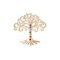 45cm Tree of Life Gold Metal Wall Art with Chakra Colours