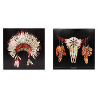 40cm Tribal Head Piece & Cow Skull Canvas Picture Frame