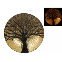 1X 60Cm Circle Shaped, Gold With Brown Tree Of Life Wall Art, Home Deco