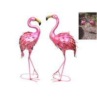 1pce 75cm Metal Hot Pink Flamingo Standing for Garden & Home Retro