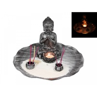 1x 28cm Silver Rulai Buddha Zen Garden with White Sand, Rake, and Tealight