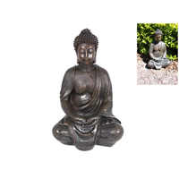 40cm Mediation Buddha Statue, Brown Resin Garden Style
