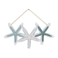 37cm Trio of Starfish Wall Art in Glitter Blue Tones, Rope Hanging