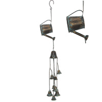 75cm Hanging Watering Cans Feature Wind Chime, Rustic Vintage Style