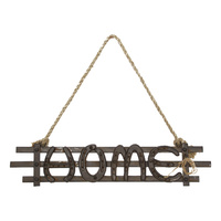 "52cm ""Home"" Cast Iron Decor Rope Hanging Sign, Horse Shoe Design"