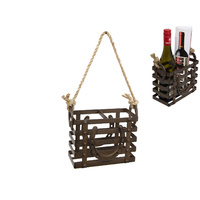 20cm Cast Iron Bottle/Condiment Holder To Hang, Rustic with Horse Shoe Ornament