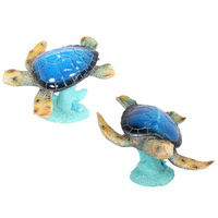 29cm Marble Looking Turtle on Glitter Coral Base Swimming Pose