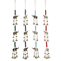 60cm Hanging Brass Bell Wind Chime with Elephants & Beads