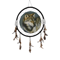 60cm Wolf Feature Dream Catcher, Tribal Urban Style