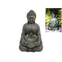36cm Buddha with Lotus Bowl, Antique Look Resin