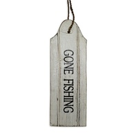 "22cm Door Hanging ""GONE FISHING"" Sign Plaque, Wooden, White Wash with Blue Words"