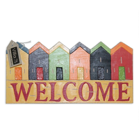 "40cm Wooden ""Welcome"" Hanging Sign / Plaque Beach House Theme Rustic Style"